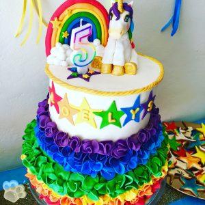 Coloriage Gateau Licorne.Un Anniversaire Licorne Arc En Ciel Sweet Table La Pate D Amanda
