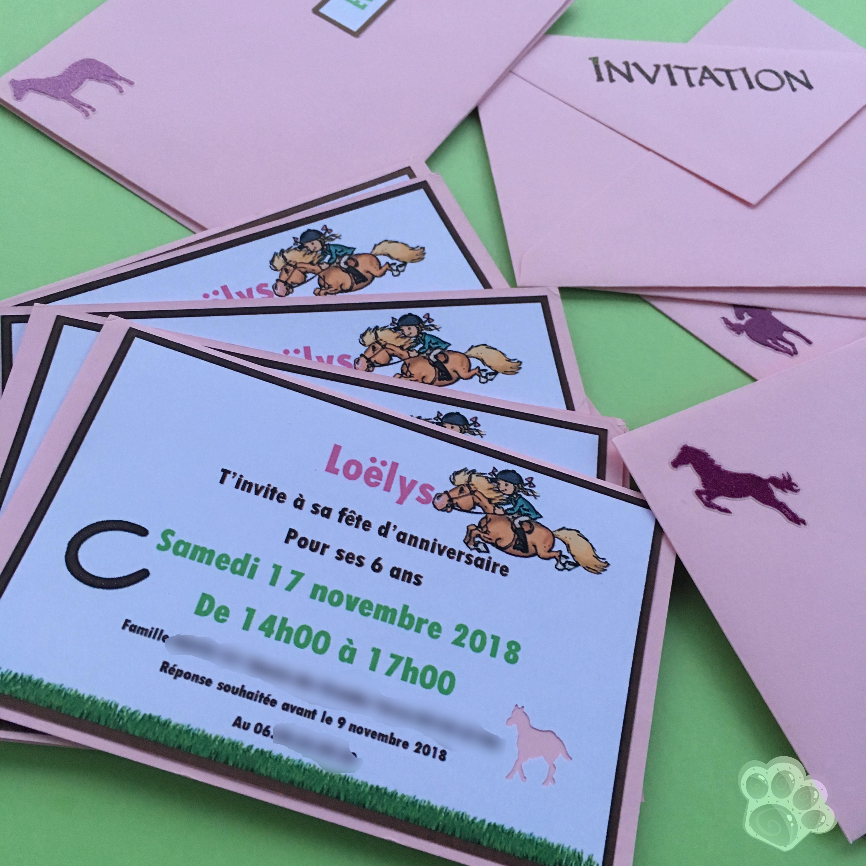 invitations anniversaire cheval